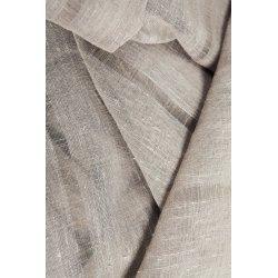 Voilage Vitrage 60 x 240 cm Passe Tringle Tissu Léger Effet Gaze de Lin à Rayures Verticales Style Naturel Taupe