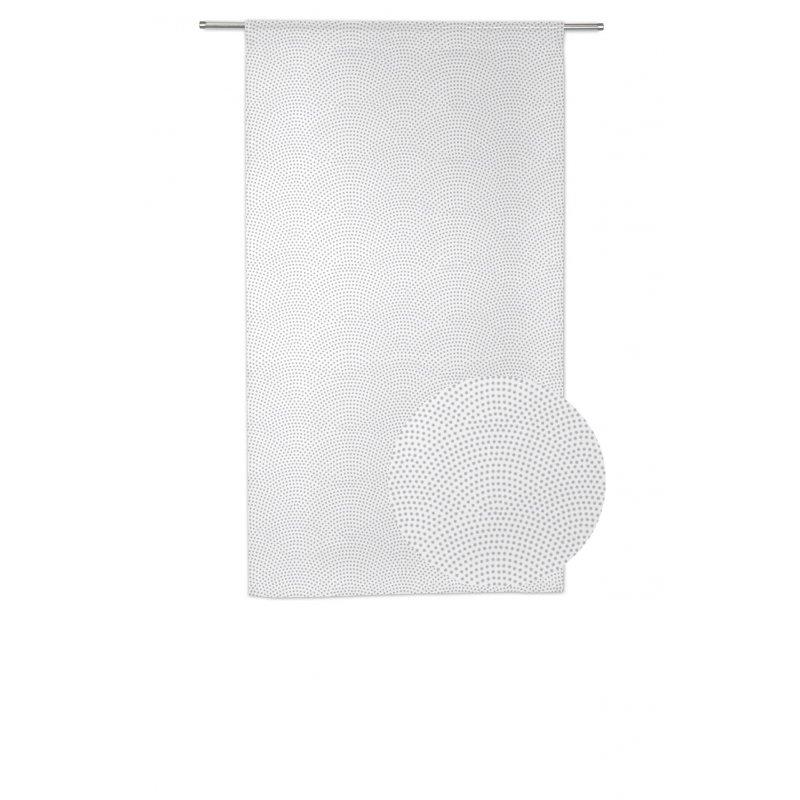 Paire de Voilages Vitrages 60 x 120 cm Passe Tringle Style Scandinave Motif Contemporain Imprimé Gris