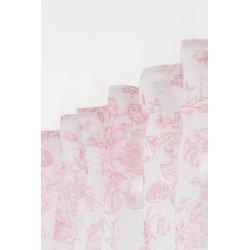 Voilage Style Anglais 140 x 280 cm Grande Hauteur à Galon Fonceur et Pattes Cachées Motif Fleuri Tissu Effet Lin Naturel