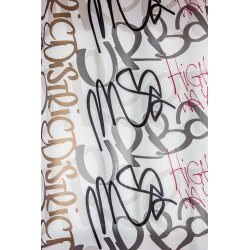 Rideau 140 x 280 cm Oeillets Grande Hauteur Imprimé Tag Graffiti Multicolore Urbain Blanc