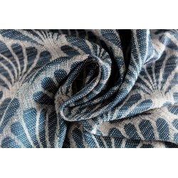 Rideau 140 x 240 cm ˆà Oeillets Tamisant Jacquard Motif Coquille Effet Naturel Bleu Clair