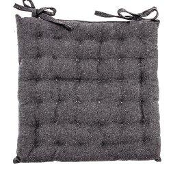 Galette de Chaise 100% Coton 40 x 40 x 4 cm Non Déhoussable Uni Chiné Anthracite