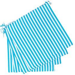 Lot de 4 Galettes de Chaise 38 x 38 x 1,7 cm Bayadères Bicolores Bleu Blanc