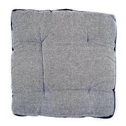 Coussin de Sol 100% Coton 40 x 40 x 7 cm Non Déhoussable Chiné avec Surpiqûre Bleu Marine