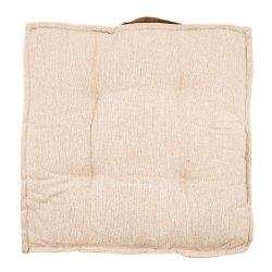 Coussin de Sol 100% Coton 40 x 40 x 7 cm Non Déhoussable Chiné avec Surpiqûre Beige