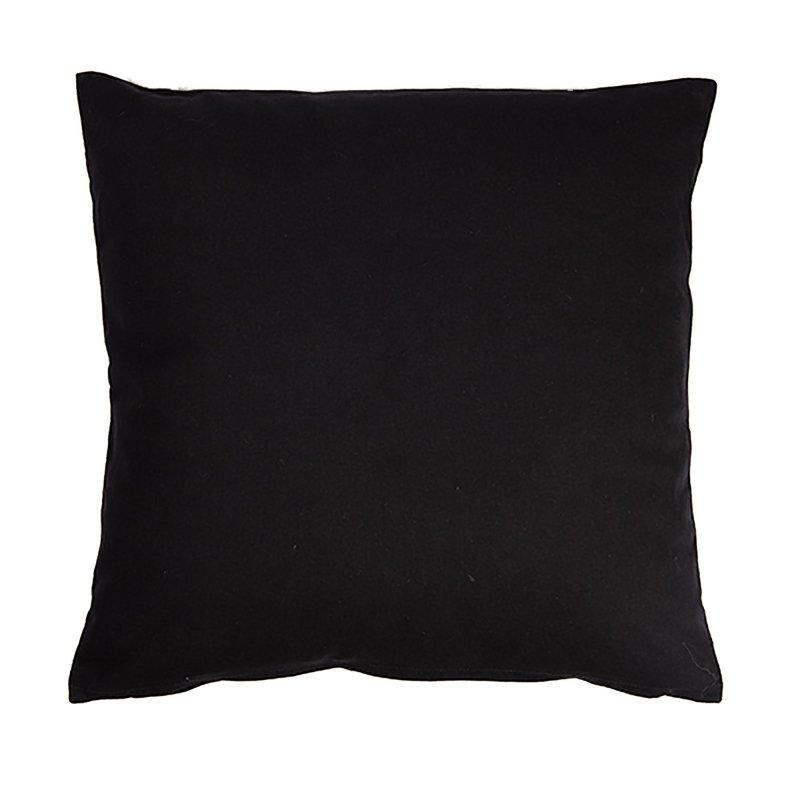 Housse de Coussin 100% Coton 40 x 40 cm Déhoussable Uni Noir