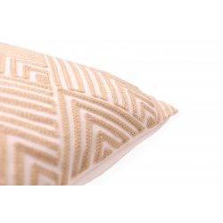 Housse de Coussin 100% Coton 40 x 40 cm Déhoussable Brodée Motifs Chevrons Losanges Ecru