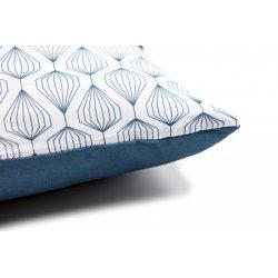 Housse de Coussin 30 x 50 cm Déhoussable avec Imprimé Motifs Géométriques Bande Pailletée Bleu