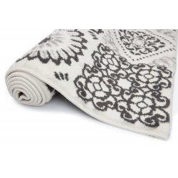 Tapis 100 x 150 cm Rectangulaire Blanc Motif Carreaux de Ciment Blanc Noir Gris