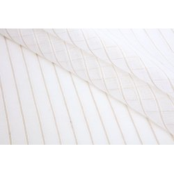 Paire de Vitrages 45 x 90 cm Passe Tringle Effet Naturel Rayures Verticales Rami Finition Triangulaire Pompon Blanc