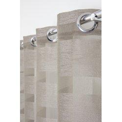 Voilage 140 x 240 cm à Oeillets Jacquard Rayures Horizontales Larges Effet Naturel Argile