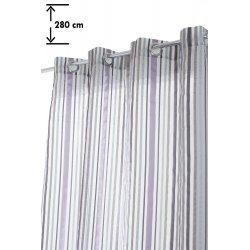 Voilage à Oeillets 140 x 280 cm Grande Hauteur à Rayures Multicolores Opaques Mauve Violet