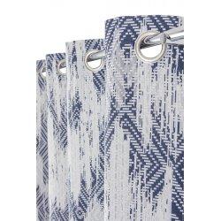 Rideau Tamisant 140 x 260 cm à Oeillets Motifs Géométriques Used Bleu