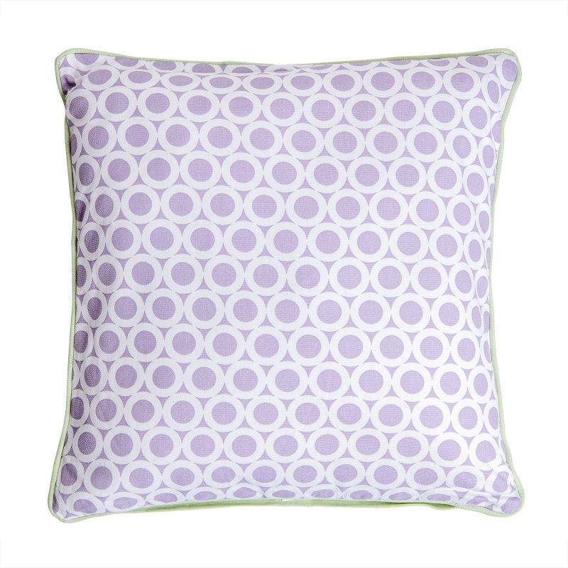 Housse de Coussin 100% Coton 40 x 40 cm Déhoussable Imprimé Motifs Petits Ronds Violet