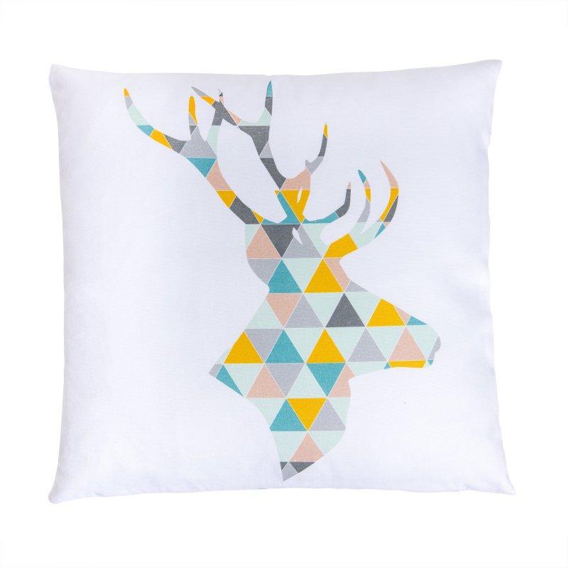 Housse de Coussin Déhoussable Imprimé Motif Cerf Géométrique Multicolore
