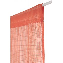 Paire de Vitrages 60 x 160 cm Passe Tringle Uni Ajouré Orange