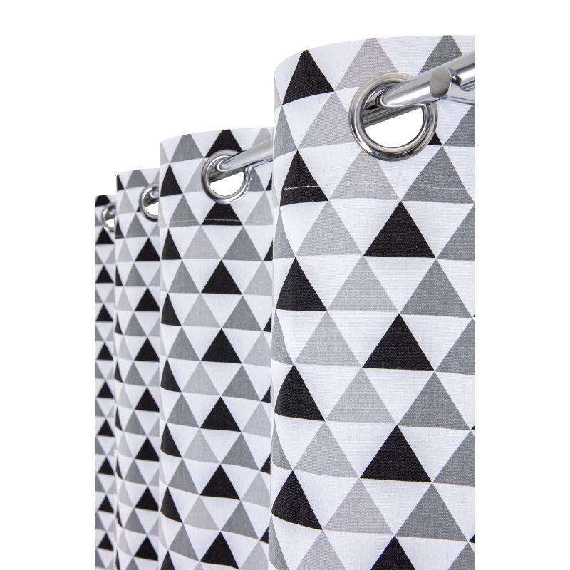 Rideau Tamisant 100% Coton 140 x 260 cm à Oeillets Imprimé Motifs Triangles Gris