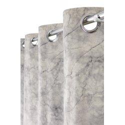 Rideau Tamisant 135 x 260 cm à Oeillets Imprimé Effet Marbre Gris