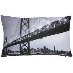 Housse de Coussin 30 x 50 cm Déhoussable Imprimé Pont Golden Gate San Francisco Noir Blanc Gris