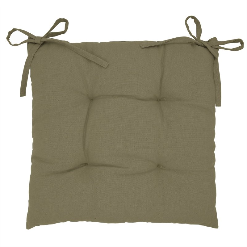 Galette de Chaise 100% Coton 40 x 40 x 5 cm à Nouettes Non Déhoussable Uni Naturel