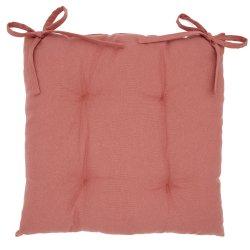 Galette de Chaise 100% Coton 40 x 40 x 5 cm à Nouettes Non Déhoussable Uni Terracotta