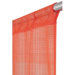 Vitrage 60 x 240 cm Passe Tringle Tramé Uni Orange