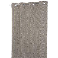 Rideau Tamisant 135 x 240 cm à Oeillets Jacquard Motifs Losanges Taupe