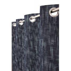 Rideau Tamisant 135 x 240 cm à Oeillets Effet Naturel Chiné Uni Bleu