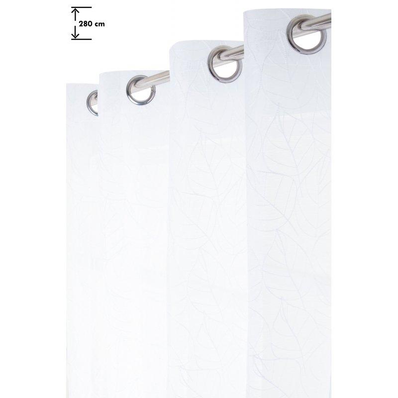 Voilage 140 x 280 cm à Oeillets Grande Hauteur Brodé Motif Feuilles Blanc