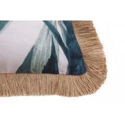 Housse de Coussin 45 x 45 cm Déhoussable Effet Jutte avec Imprimé Palmes Vertes Blanc Passepoil