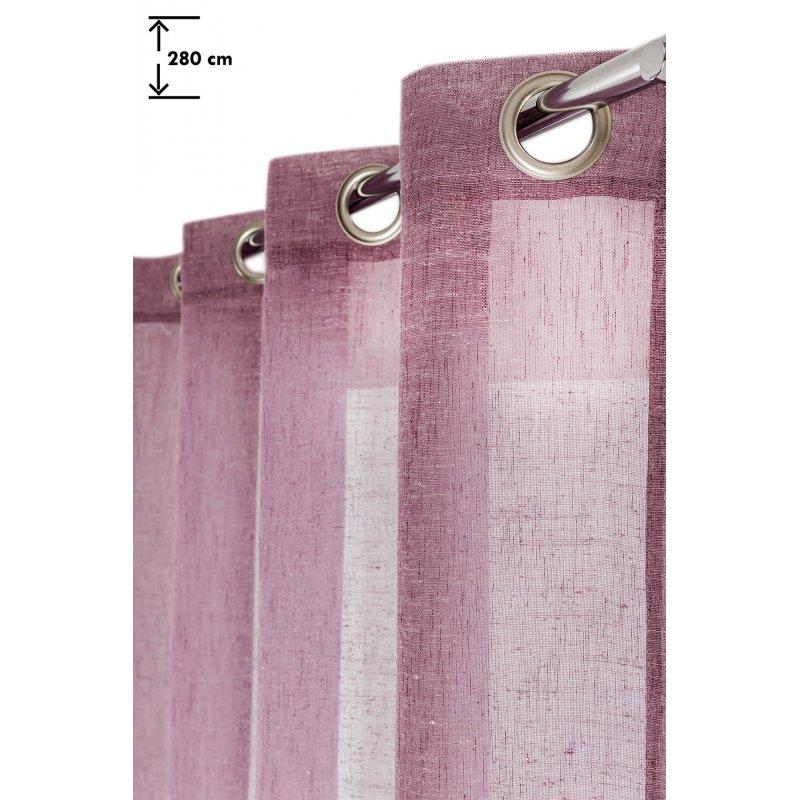Voilage 140 x 280 cm à Oeillets Effet Lin Grande Hauteur Uni Violet Foncé
