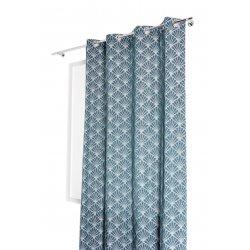 Rideau 140 x 240 cm à Oeillets Tamisant Jacquard Motif Coquille Effet Naturel Bleu Clair