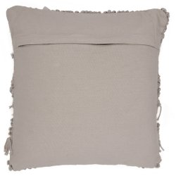 Housse de Coussin 100% Coton 40 x 40 cm Déhoussable Tissage Artisanal Franges Toile Epaisse Taupe