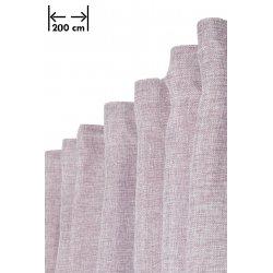 Rideau Effet Chiné 200 x 270 cm Grande Largeur et Grande Hauteur à Galon Fronceur Effet Lin Naturel Violet Foncé