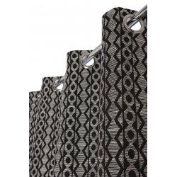 Rideau Effet Laine 140 x 250 cm à Oeillets Style Bohème Bicolore Noir