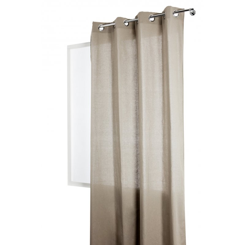 Rideau-Tamisant-140-x-240-cm-a-Oeillets-Polycoton-Recycle-Tissage-Naturel-Uni-Ta miniature 3