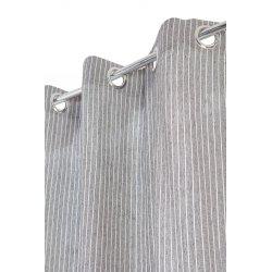 Rideau Style Industriel 140 x 260 cm à Oeillets Fines Rayures Gris/Blanc