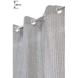Rideau Style Industriel 140 x 280 cm à Oeillets Grande Hauteur Fines Rayures Gris/Blanc