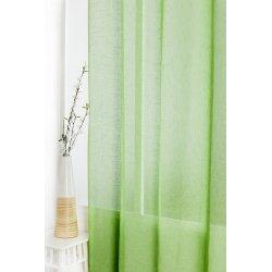 Voilage 140 x 280 cm à Oeillets Effet Lin Grande Hauteur Uni Vert Jungle