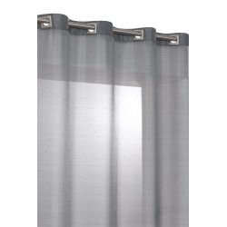 Vorhang Gardine feine horizontale Streifen Ösen Perlen Grau