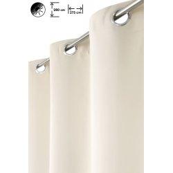 Rideau occultant 275 x 280 cm à oeillets grande largeur grande hauteur uni écru