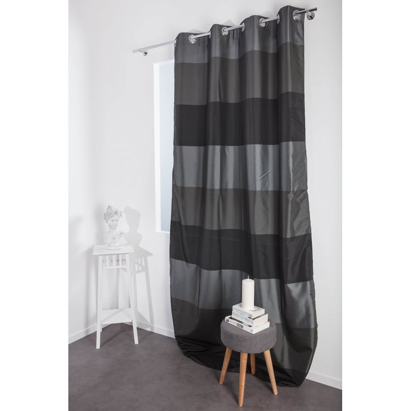 vorhang 140 x 260 gestreift seideneffekt sen grau anthrazit decoboutique. Black Bedroom Furniture Sets. Home Design Ideas