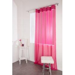Voilage Contemporain 140 x 250 cm Effet Lin Style Industriel Anneaux Style Créole Rose Froufrou